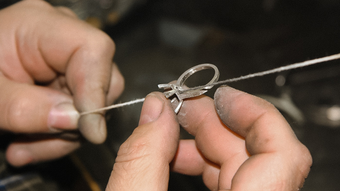 Leon Mege bench made jewelry handmade platinum ring
