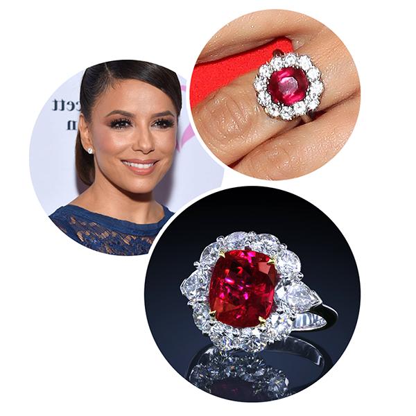 Eva Longoria leon mege engagement ring, diamond ring ruby ring