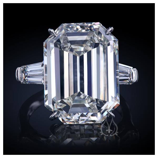 Leon Mege Emerald Cut Diamond Three Stone Ring