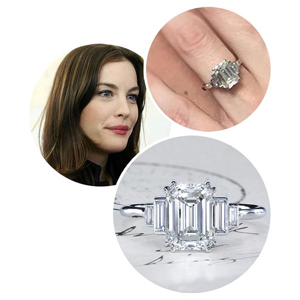 Liv Tyler leon mege engagement ring, diamond ring