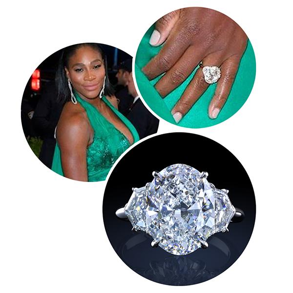 Serena Wiliams leon mege engagement ring, diamond ring