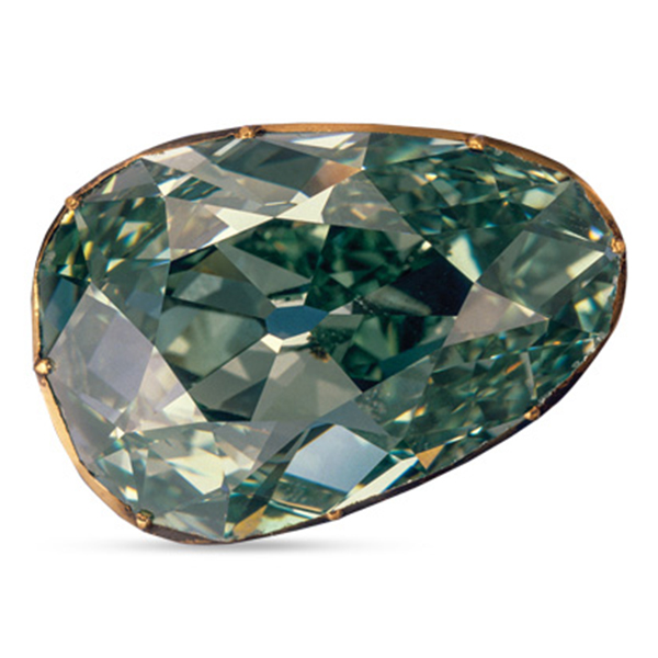 Dresden Green diamond presented by leon mege, famous diamond, antique cushion diamond legendary diamond