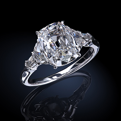 Classic five-stone ring, featuring 3.05 carat true antique™ cushion diamond by Leon Mege r7850