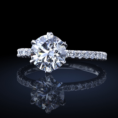 Tulip™ solitaire, featuring 1.43 carat round diamond with 26 V-cut pave by Leon Mege.