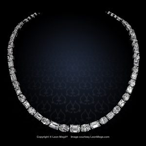Emerald and oval cut diamond Riviera necklace by Leon Mege.