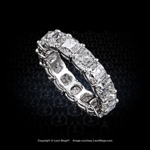 Shared prong band with True Antique cushion diamonds handmade in platinum by Leon Mege.