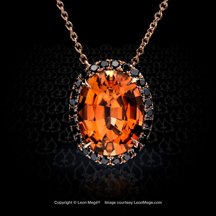 18K rose gold pendant with salmon tourmaline and black diamonds by Leon Mege