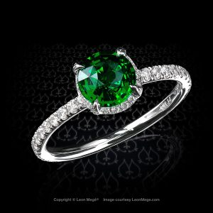 Leon Mege round tsavorite micro pave platinum ring with four prongs